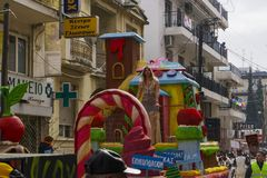 Xanthi, Greece Carnival parade floats. Decorated Greek Carnival platforms towed by a vehicle for the parade on the streets of Xanthi town royalty free stock images