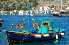 Decorated Greek fishing boat Stock Photo