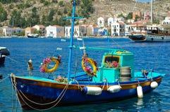 Decorated Greek fishing boat Stock Photo