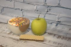 Decorated with Green Apple ice cream and waffle royalty free stock photos