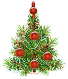 Decorated green Christmas fir tree. Isolated on white vector illustration Stock Photography
