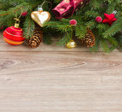 Decorated green fir tree border Royalty Free Stock Photo