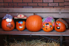decorated halloween pumpkins στοκ εικόνα με δικαίωμα ελεύθερης χρήσης
