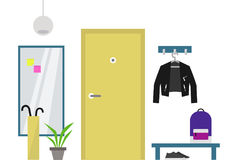Decorated Hallway interior:  flat. Illustration Stock Photography