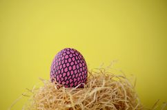 Decorated handpainted bright pink and black snakeskin patterned Easter egg in a straw nest against bright yellow background with c. Decorated hand painted bright Royalty Free Stock Images