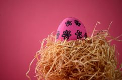 Decorated handpainted bright pink floral Easter egg in a straw nest against deep red background with copy space. Decorated hand painted bright pink floral Easter Stock Image