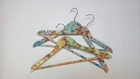 Decorated hangers. Handmade decorated hangers Stock Photo