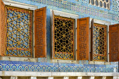 Decorated harem windows. And tiles in the old and famous Topkapi Palace in Istanbul, Turkey Stock Photo