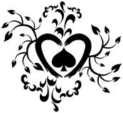 Decorated heart tattoo in black isolated Royalty Free Stock Photography