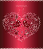The decorated heart with birds and flowers. Stock Photography