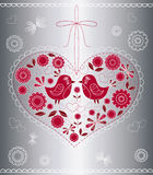 The decorated heart with birds and flowers. Vector illustration Stock Image
