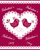 The decorated heart with birds and flowers. Royalty Free Stock Photos