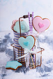 Decorated heart cookies Royalty Free Stock Photo