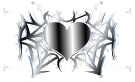 Decorated heart in grey tones with leaves  Royalty Free Stock Photo
