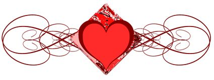 Decorated heart in red tones isolated Royalty Free Stock Images