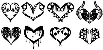 Set of stylized Decorated heart in black isolated royalty free stock photo