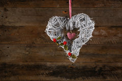 Decorated Heart Shape Christmas Wreath White Twigs Gingham Ribbo Stock Photography