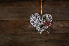 Decorated Heart Shape Christmas Wreath White Twigs Ribbon Holly Stock Image