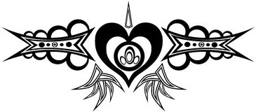 Decorated heart tattoo Stock Photos