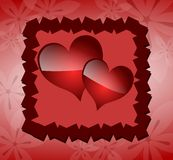Decorated hearts on abstract background Stock Photos