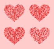 Decorated hearts mosaic vector set Stock Image