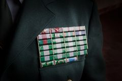 Decorated High Ranking Officer. From Spain Guardia Civil Security Corp royalty free stock image