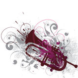 Decorated horn. Illustrated and decorated horn with swirls and colors Royalty Free Stock Photography