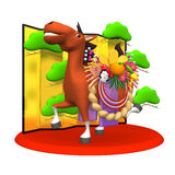 Decorated Horse With Folding Screen.  Royalty Free Stock Photos