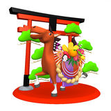 Decorated Horse With Symbolic Entrance.  Stock Photo
