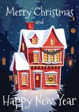 Decorated House on Christmas eve. Illustration Stock Photography