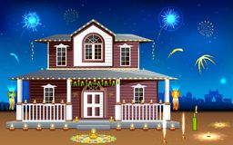 Decorated house in Diwali night. Illustration of house decorated with diya in Diwali night Stock Images