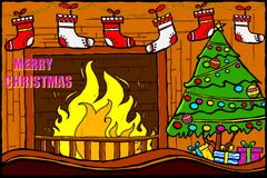 Decorated House fireplace for Merry Christmas holiday celebration. Easy to edit vector illustration of Decorated House fireplace for Merry Christmas holiday Stock Photos