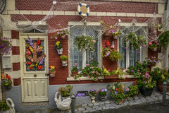 Decorated house with flowers Royalty Free Stock Photography