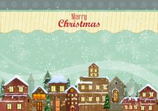 Decorated house on Happy Winter celebration greeting background for Merry Christmas. In vector Royalty Free Stock Images