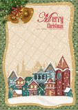 Decorated house on Happy Winter celebration greeting background for Merry Christmas. In vector Royalty Free Stock Photo