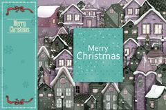 Decorated house on Happy Winter celebration greeting background for Merry Christmas. In vector Royalty Free Stock Image