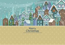 Decorated house on Happy Winter celebration greeting background for Merry Christmas. In vector Stock Photography