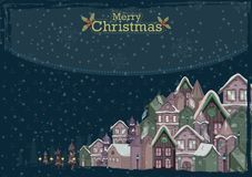 Decorated house on Happy Winter celebration greeting background for Merry Christmas. In vector Stock Image
