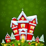 Decorated House for  Merry Christmas Stock Image