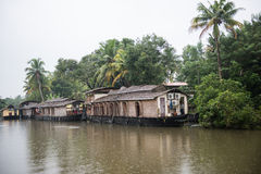 Decorated Houseboats in Kottayam Stock Images