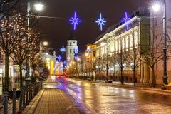 Christmas Gediminas prospect, Vilnius, Lithuania. Decorated and illuminated Christmas Gediminas prospect and Cathedral Belfry at night, Vilnius, Lithuania Royalty Free Stock Photography