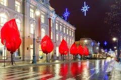 Christmas Gediminas prospect, Vilnius, Lithuania. Decorated and illuminated Christmas Gediminas prospect and Cathedral Belfry at night, Vilnius, Lithuania Stock Photo