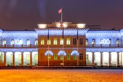 Presidential Palace at night, Vilnius, Lithuania. Decorated and illuminated facade of Presidential Palace at night of Vilnius, Lithuania, Baltic states Royalty Free Stock Photo