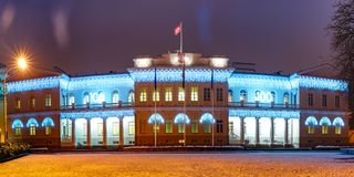 Presidential Palace at night, Vilnius, Lithuania. Decorated and illuminated facade of Presidential Palace at night of Vilnius, Lithuania, Baltic states Stock Images
