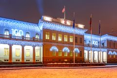 Presidential Palace at night, Vilnius, Lithuania. Decorated and illuminated facade of Presidential Palace at night of Vilnius, Lithuania, Baltic states Stock Image