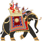 Decorated indian elephant. Vector illustration of a decorated indian elephant Stock Photos