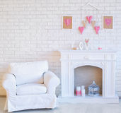 Decorated interior corner with delicate handmade hearts Royalty Free Stock Photography