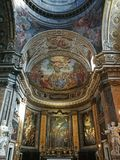 Wonderfully decorated interior in a Roman Catholic church. Taken in Rome/Italy, 11.04.2017. Decorated interior in a Roman Catholic church royalty free stock images