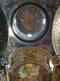 Wonderfully decorated interior in a Roman Catholic church. Taken in Rome/Italy, 11.04.2017. Decorated interior in a Roman Catholic church royalty free stock image