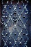 Decorated iron door stock photos